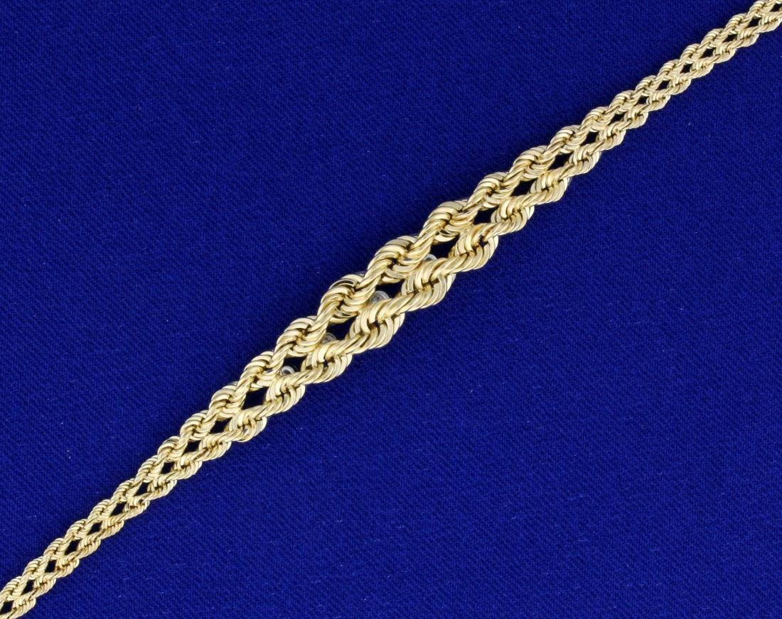 7 Inch Graduated Rope Style Diamond Bracelet in 14K - 3