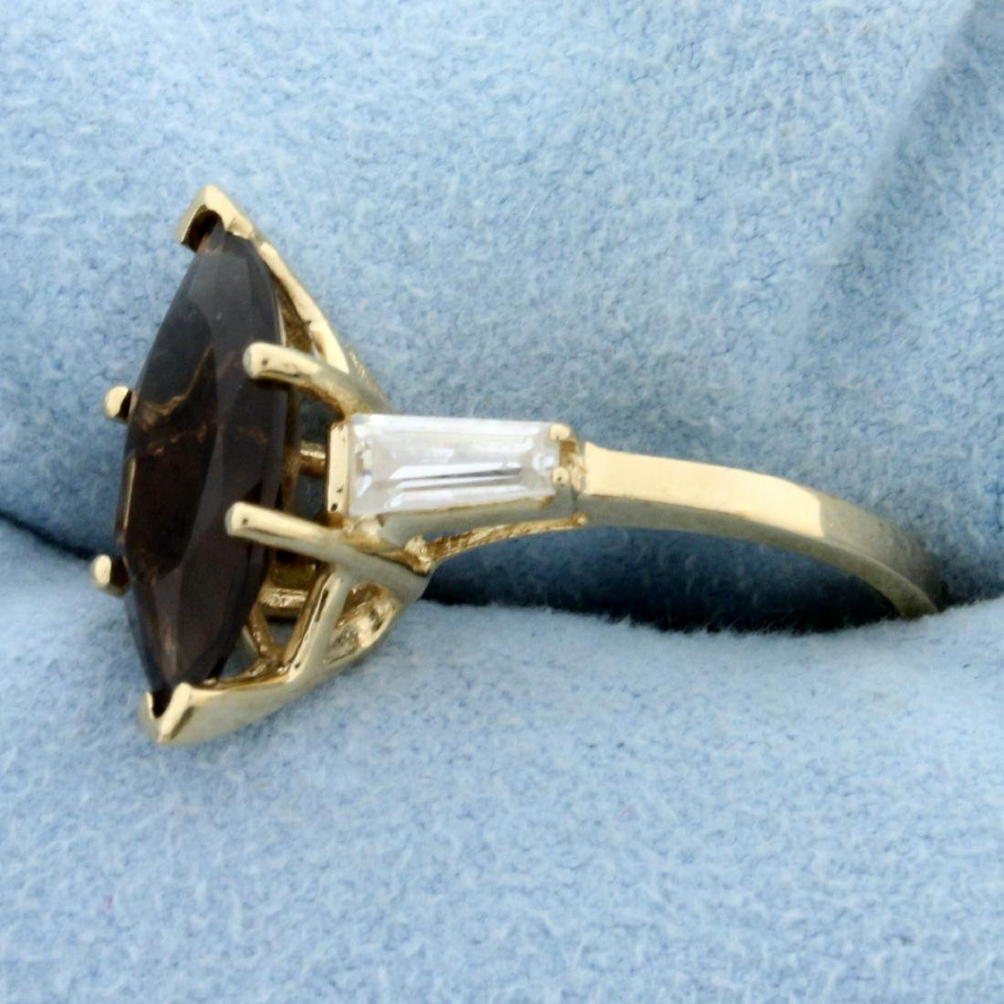 Smoky Topaz and CZ Ring in 14K Yellow Gold - 2