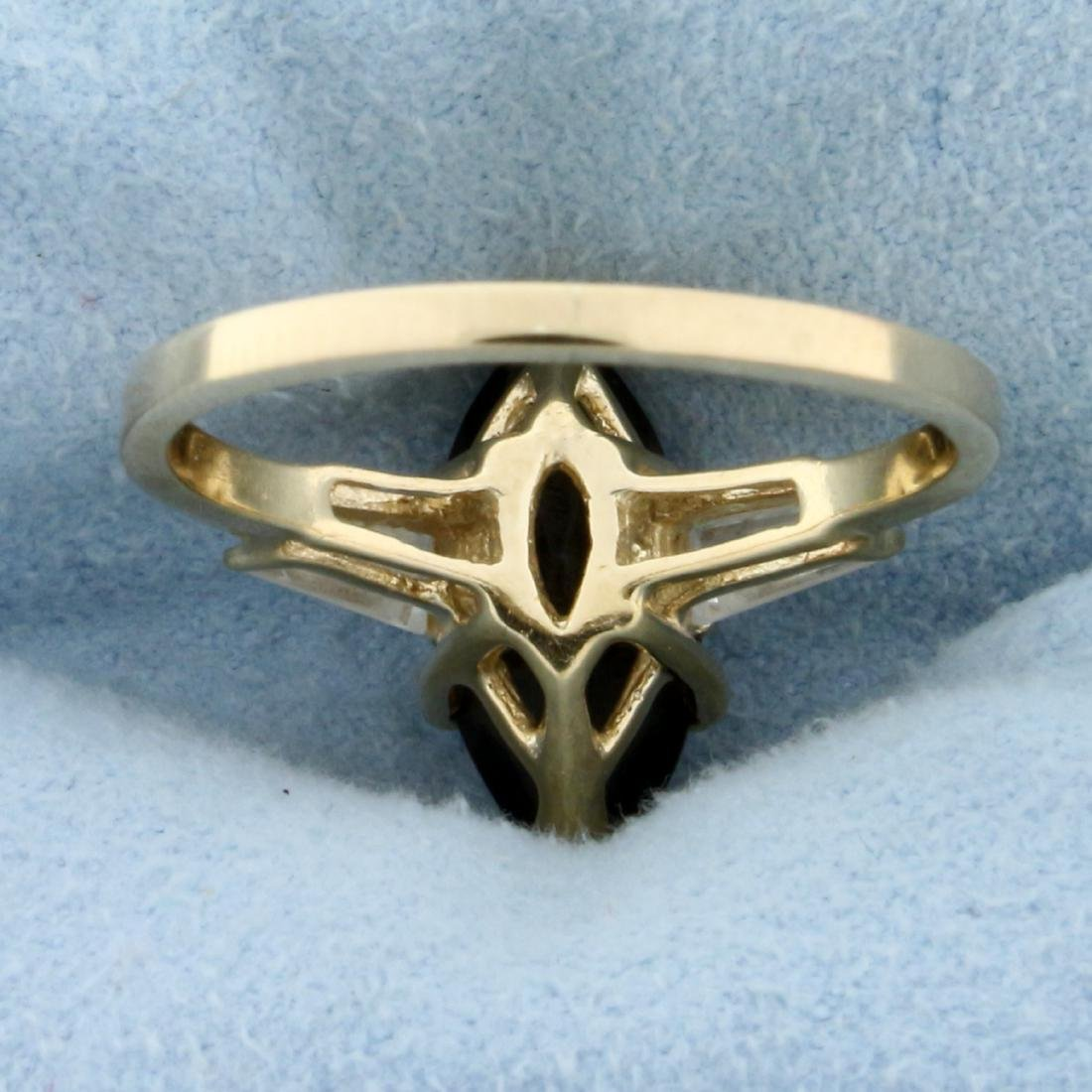 Smoky Topaz and CZ Ring in 14K Yellow Gold - 4