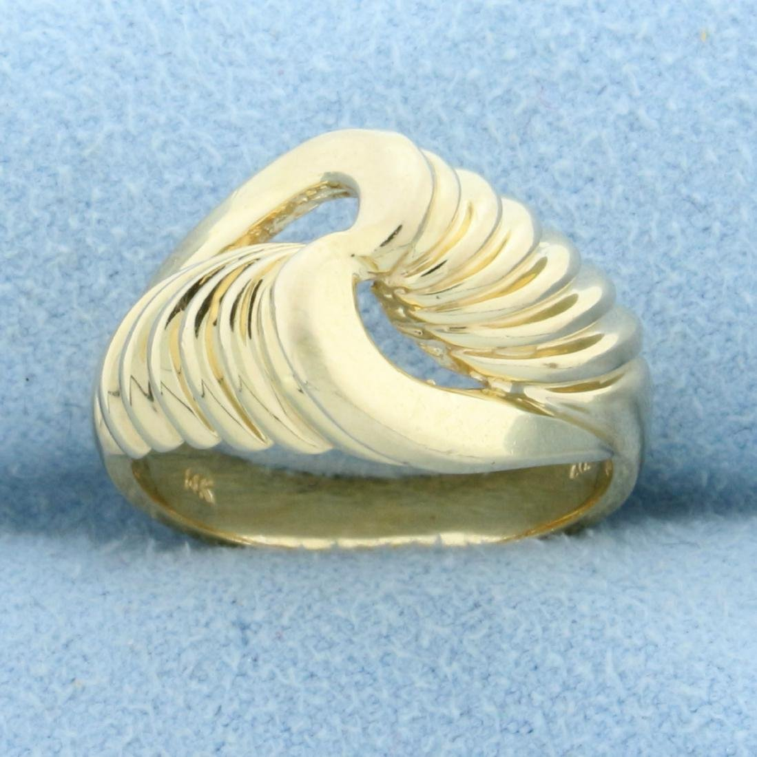 Abstract Twisting Designer Ring in 14K Yellow Gold