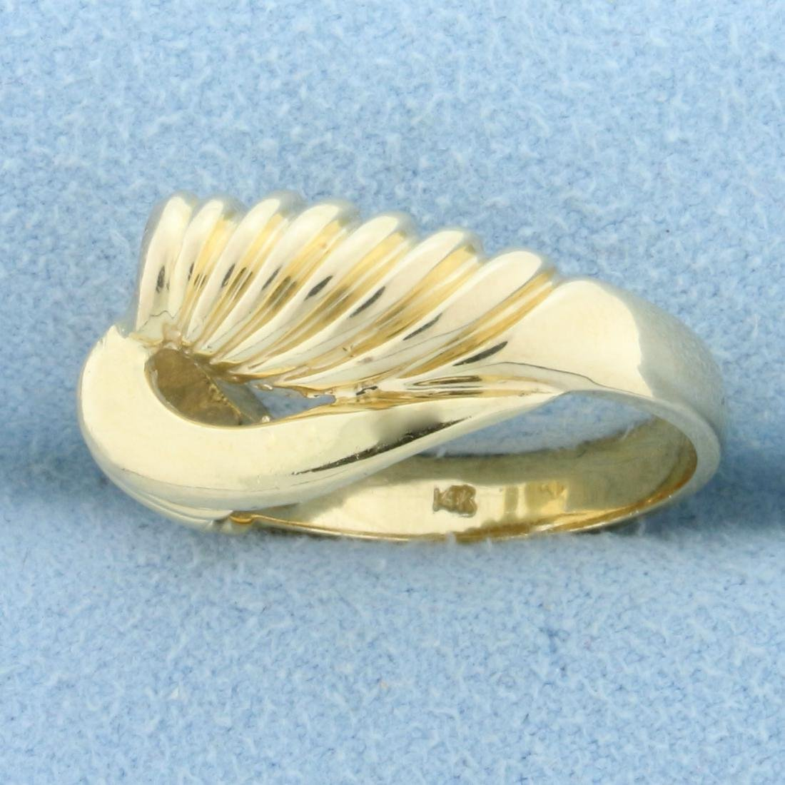 Abstract Twisting Designer Ring in 14K Yellow Gold - 2