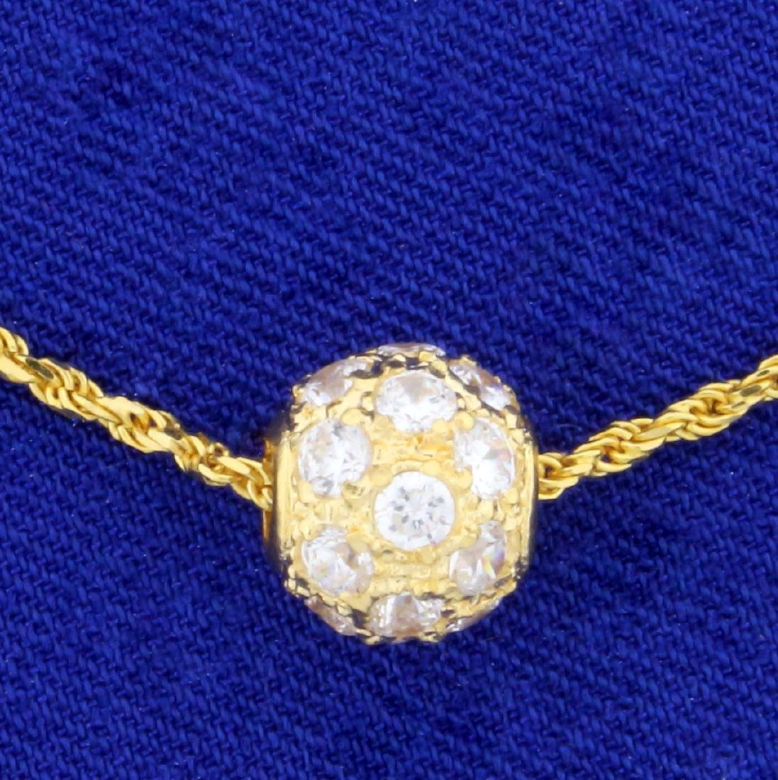 1ct TW White Sapphire Ball Pendant and Chain in 18K