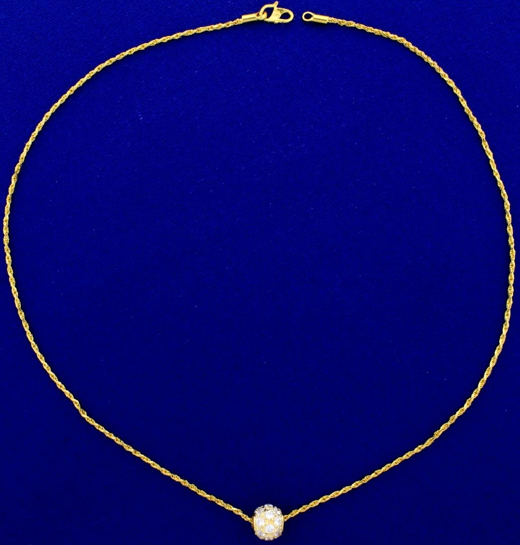 1ct TW White Sapphire Ball Pendant and Chain in 18K - 2