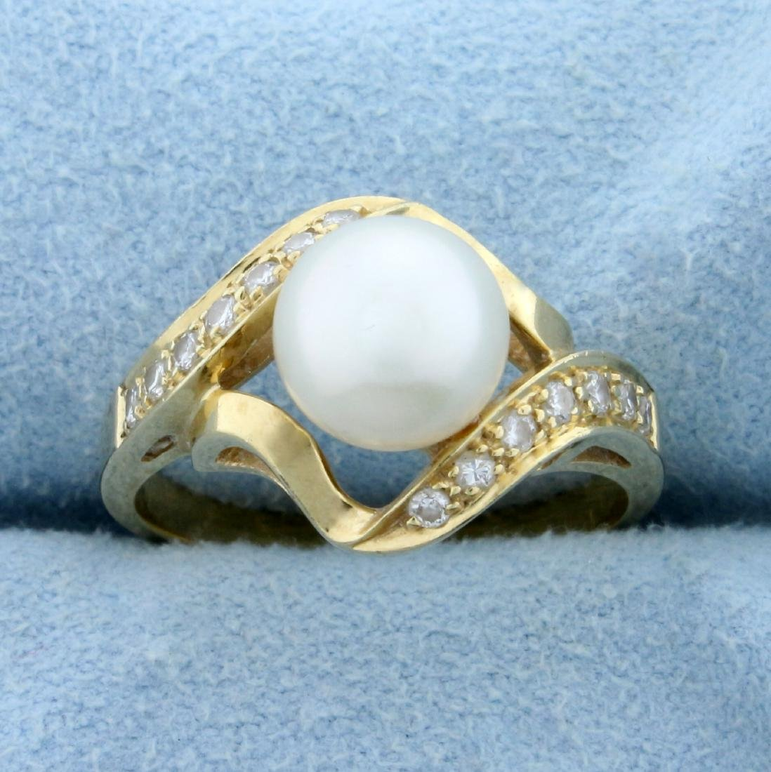 8mm Cultured Akoya Pearl and Diamond Ring in 14K Yellow