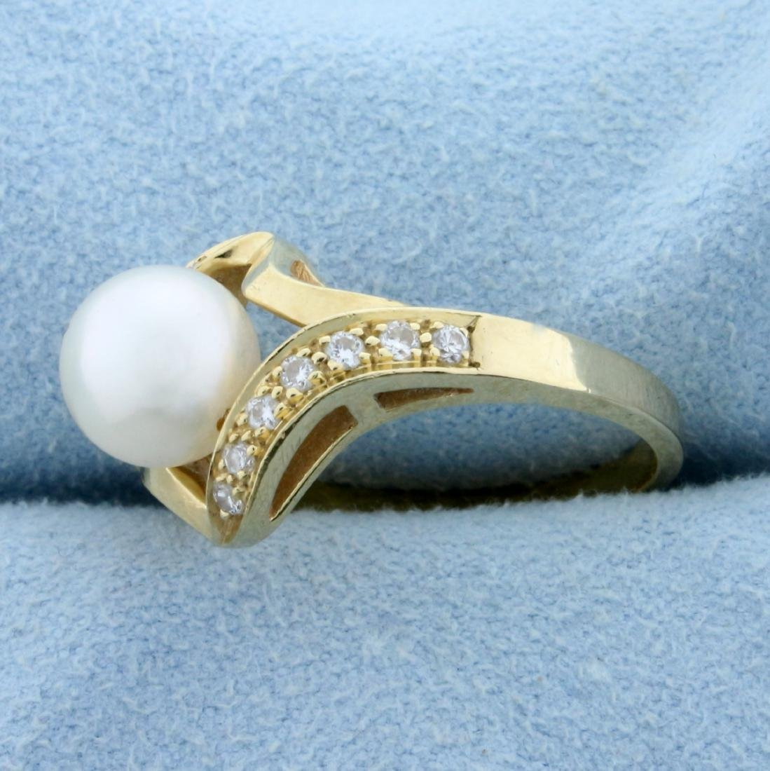 8mm Cultured Akoya Pearl and Diamond Ring in 14K Yellow - 2