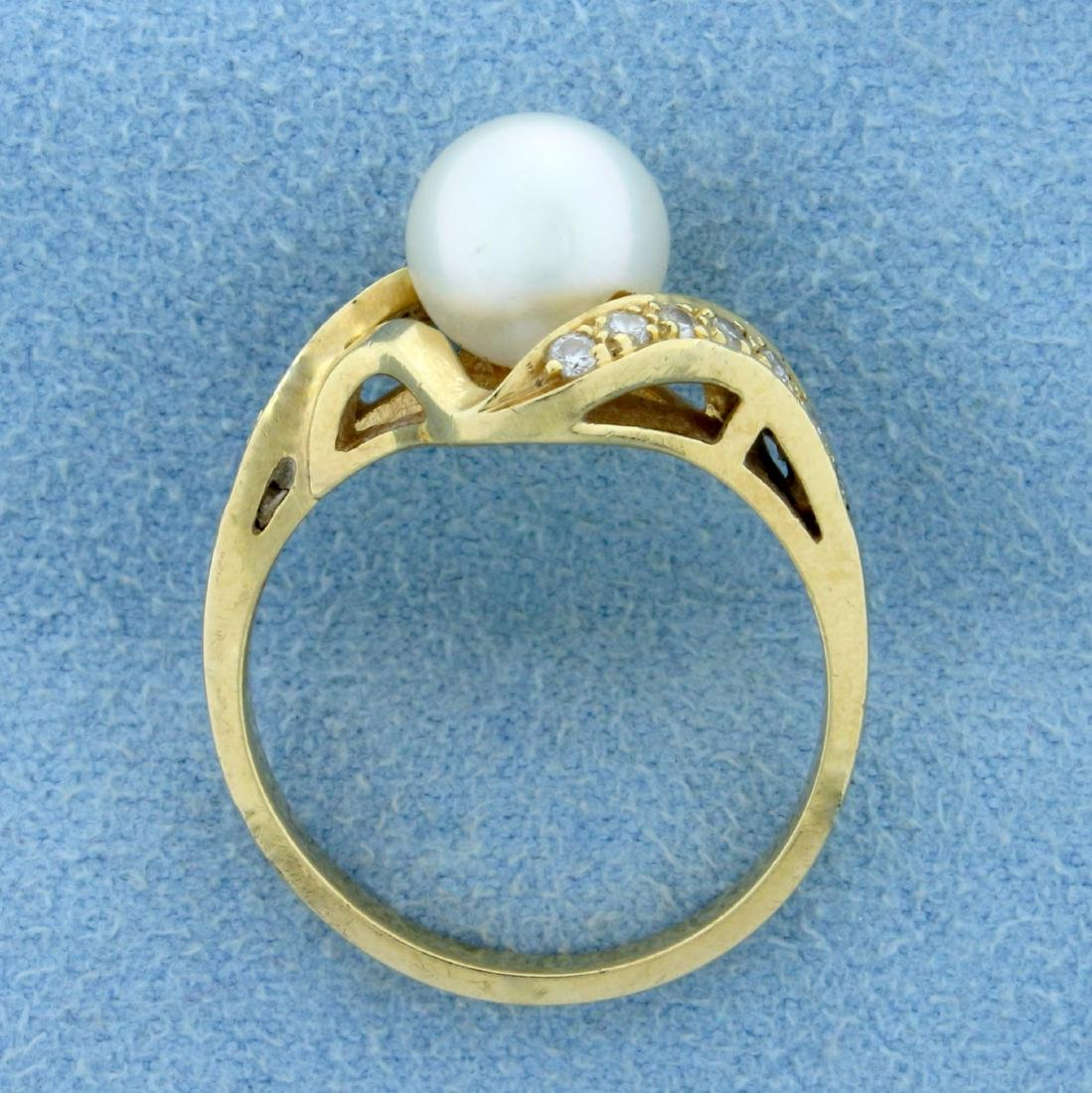 8mm Cultured Akoya Pearl and Diamond Ring in 14K Yellow - 3