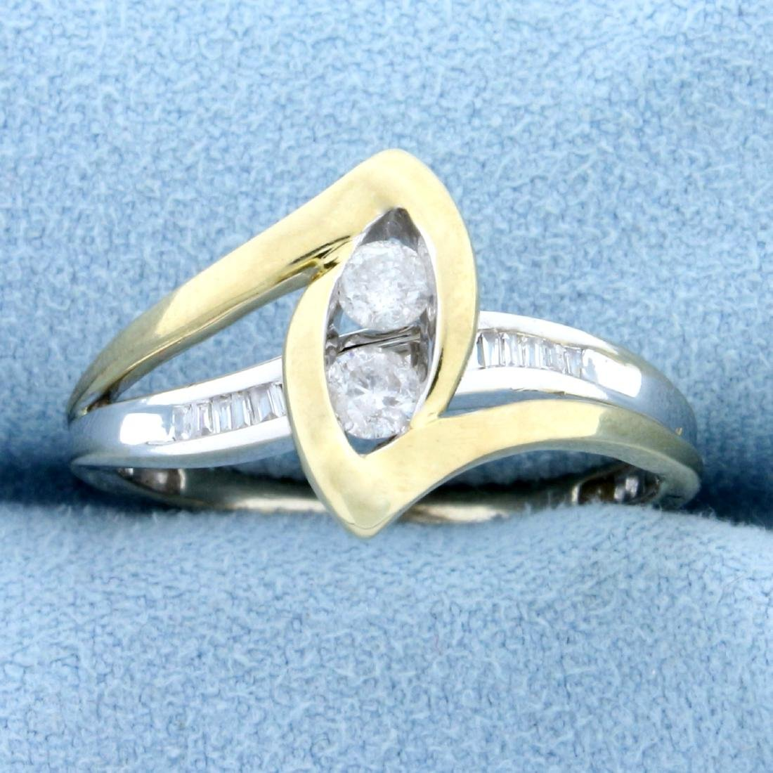 1/3ct TW Diamond Ring in 10K White and Yellow Gold