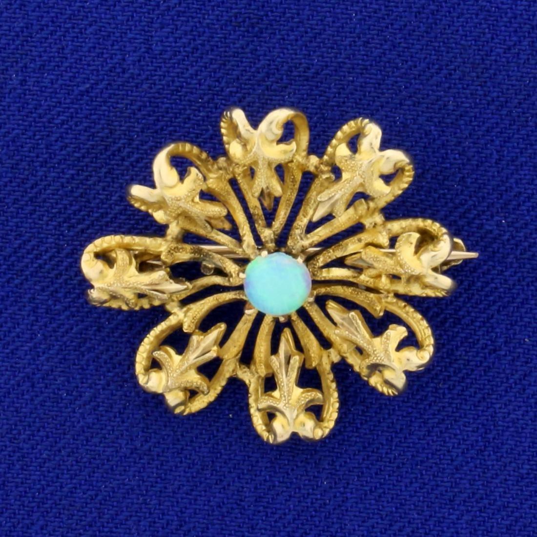 Vintage Fleur de Lis Design Opal Pin in 14K Yellow Gold