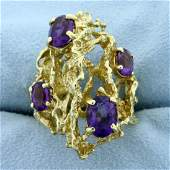 Designer 4ct TW Amethyst Nugget Style Ring in 18K