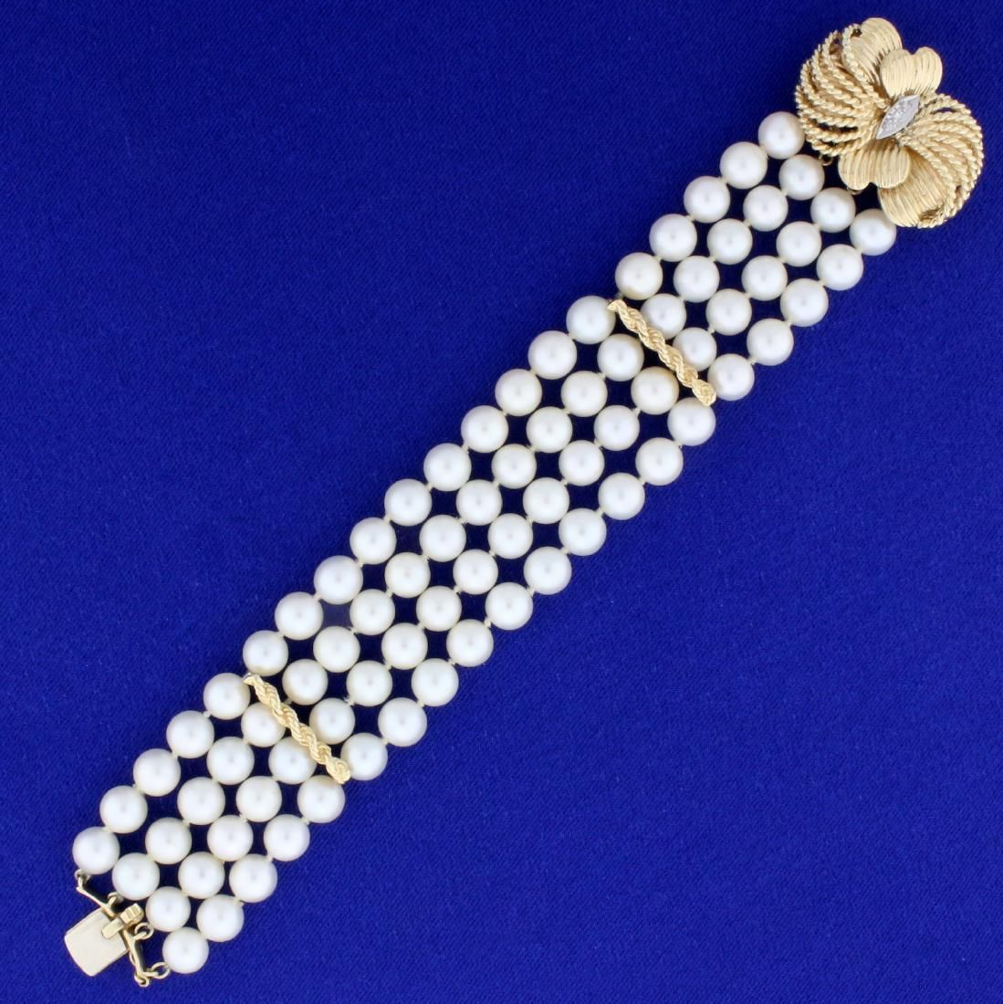 Vintage Four Strand Akoya Pearl and Diamond Bracelet in