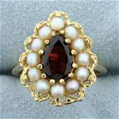 Vintage Garnet and Pearl Ring in 14K Yellow Gold