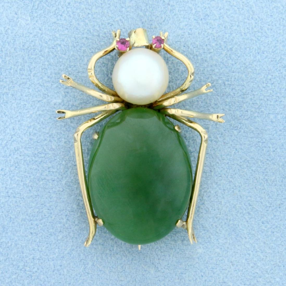 Vintage Jade, Pearl, and Ruby Spider Pin in 14K Yellow