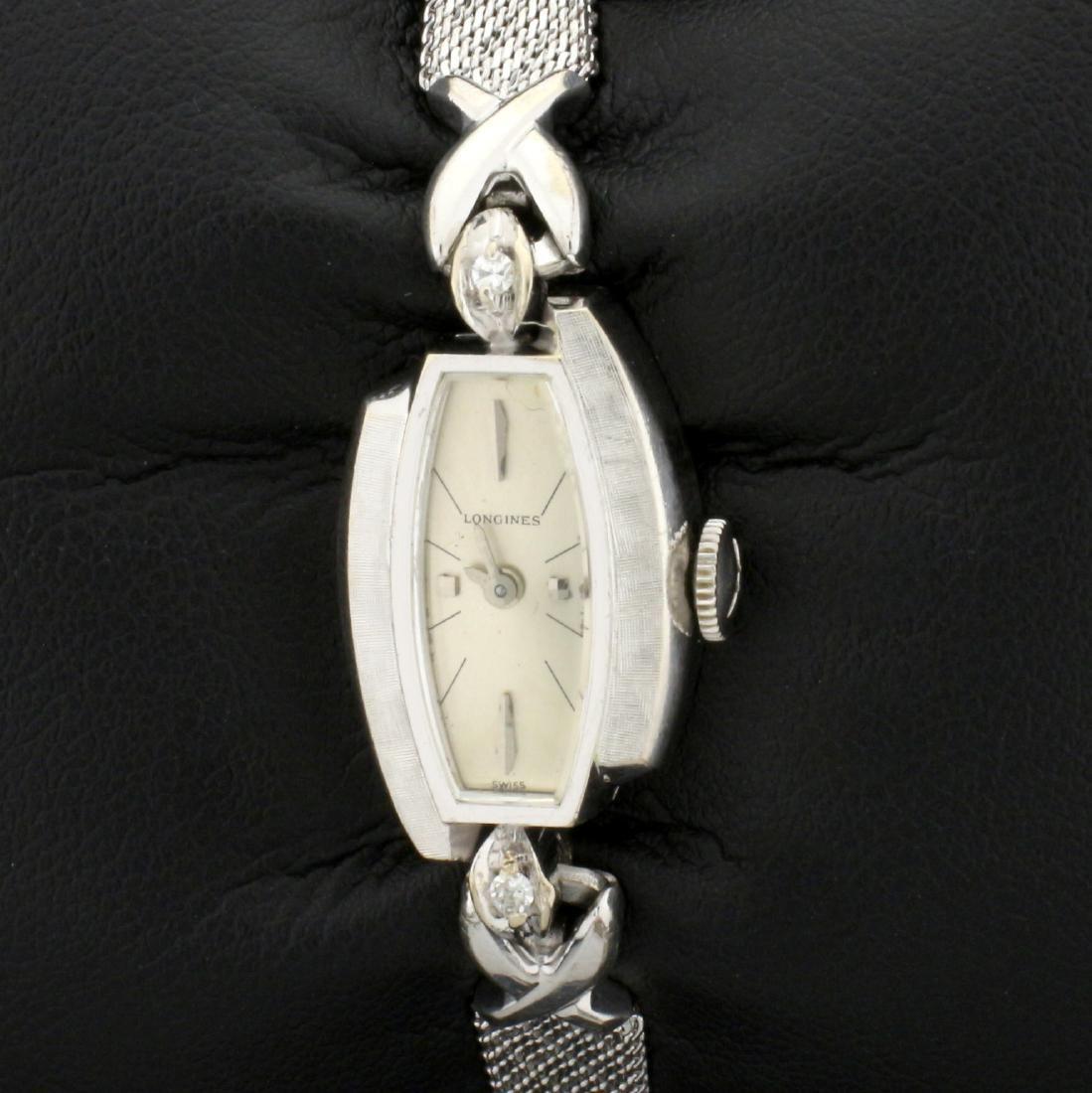 Antique 14k Solid Gold Case Woman's Longines Diamond