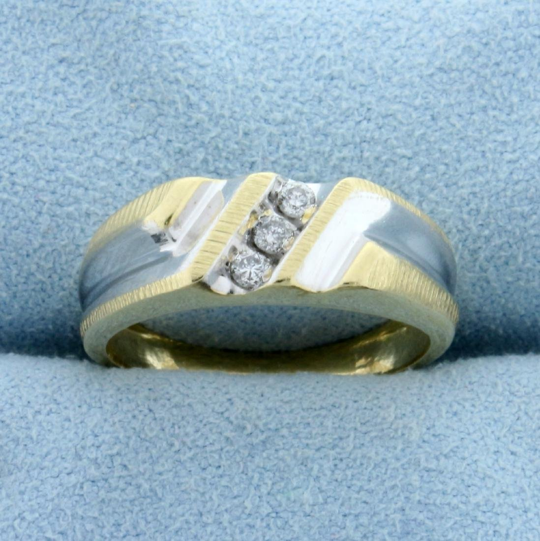 Unique 3-Stone Channel Set Diamond Ring in 14K Yellow