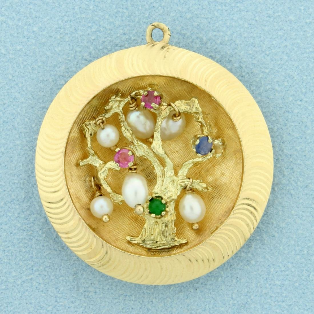 Unique Gemstone and Pearl Tree Pendant in 14K Yellow