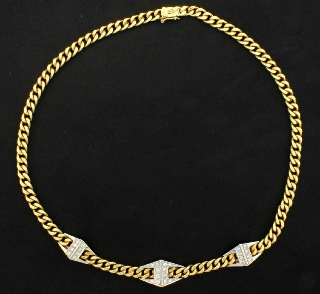 1/2ct TW Diamond Italian Made Curb Link Necklace in 18k