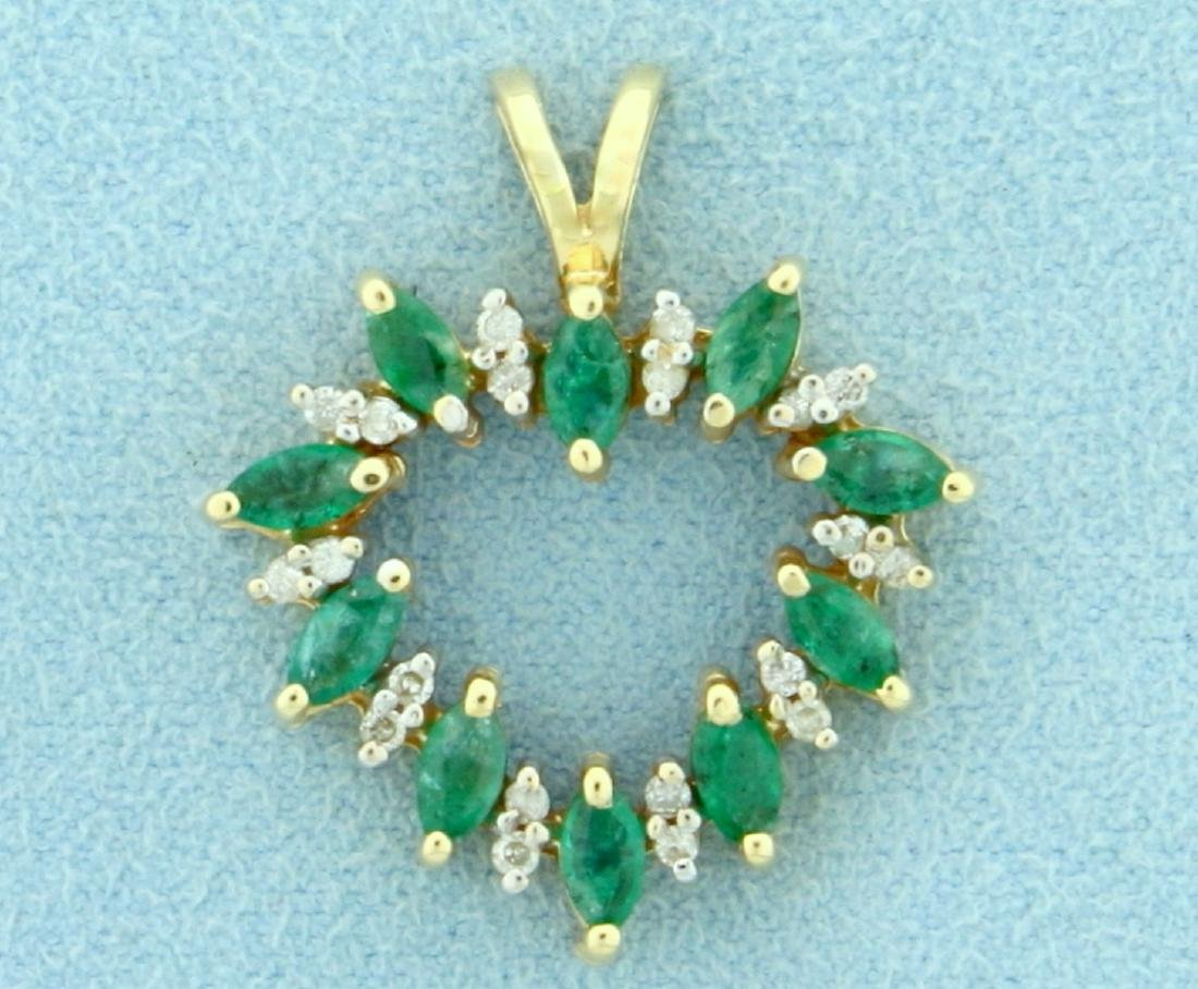 Natural Emerald and Diamond Heart Pendant in 10K Yellow
