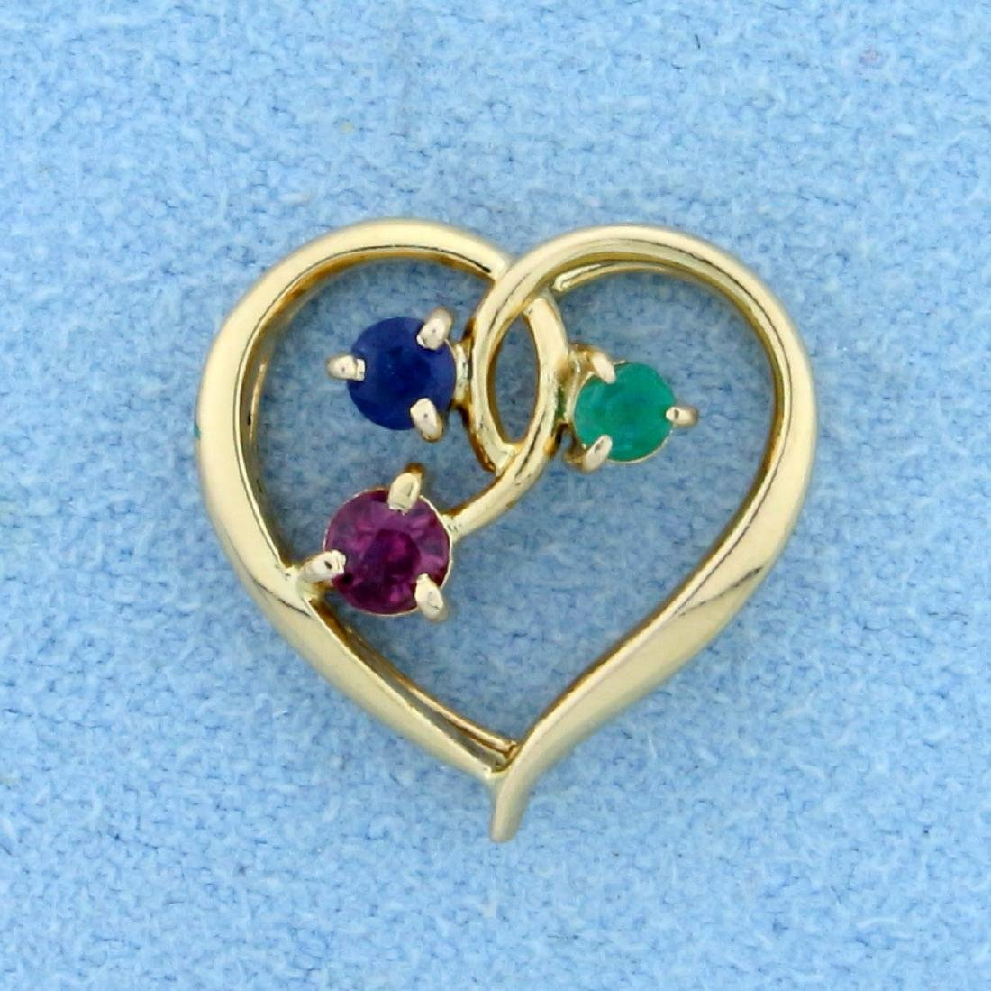 Emerald, Ruby, and Sapphire Heart Pendant in 14K Yellow