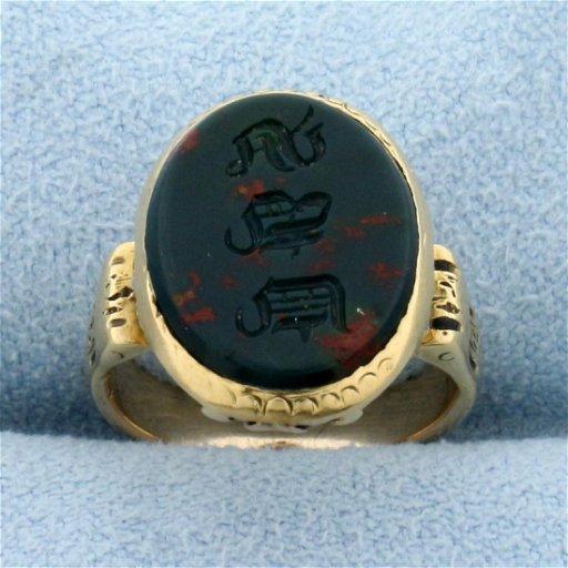Vintage Signet Bloodstone Ring in 14K Yellow Gold - Jun 28