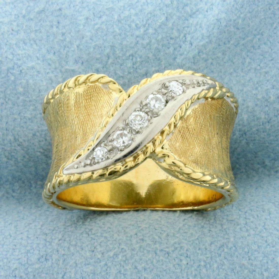 Unique 1/8ct TW Diamond Band Ring in 14K Yellow and