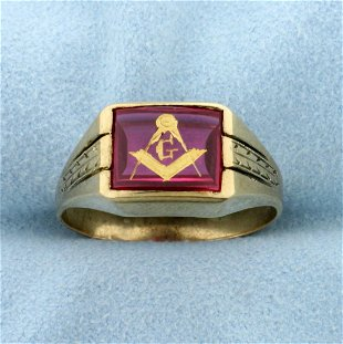 58: Gents Masonic spinner ring - May 22, 2007 | A F Brock and