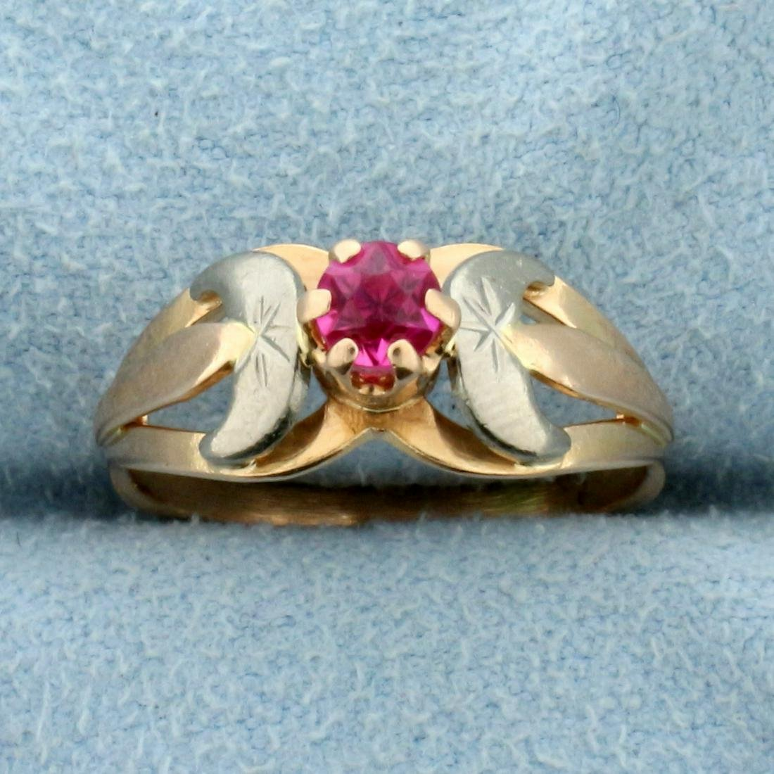 Antique 1/4ct Pink Sapphire Ring in 14K Rose and White