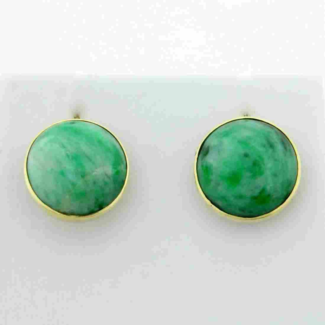 Vintage Natural Jade Screw-back Earrings in 14K Yellow