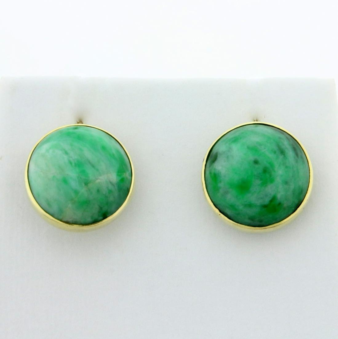 Vintage Natural Jade Screw-back Earrings in 14K Yellow