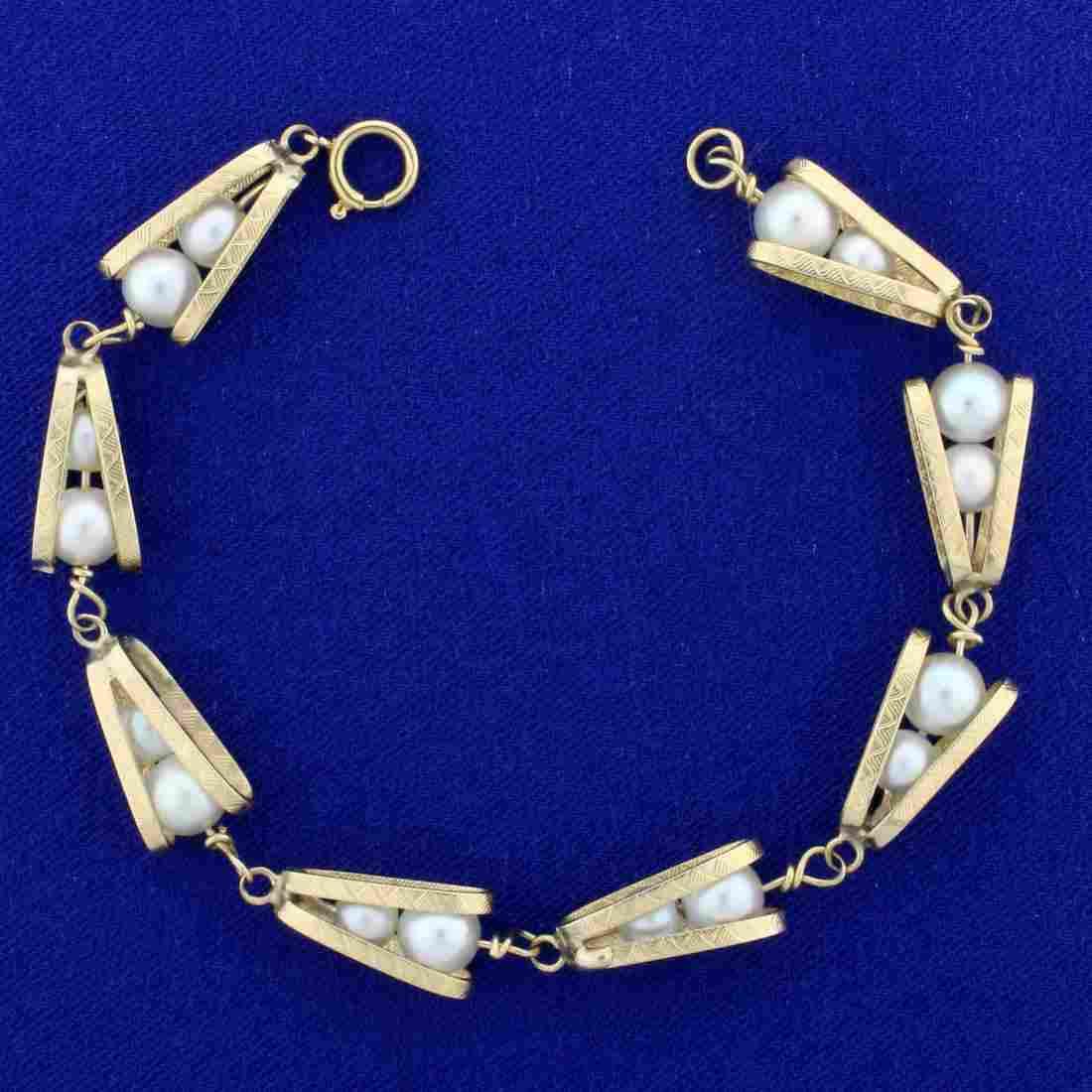 Unique Vintage Cultured Akoya Pearl Link Bracelet in