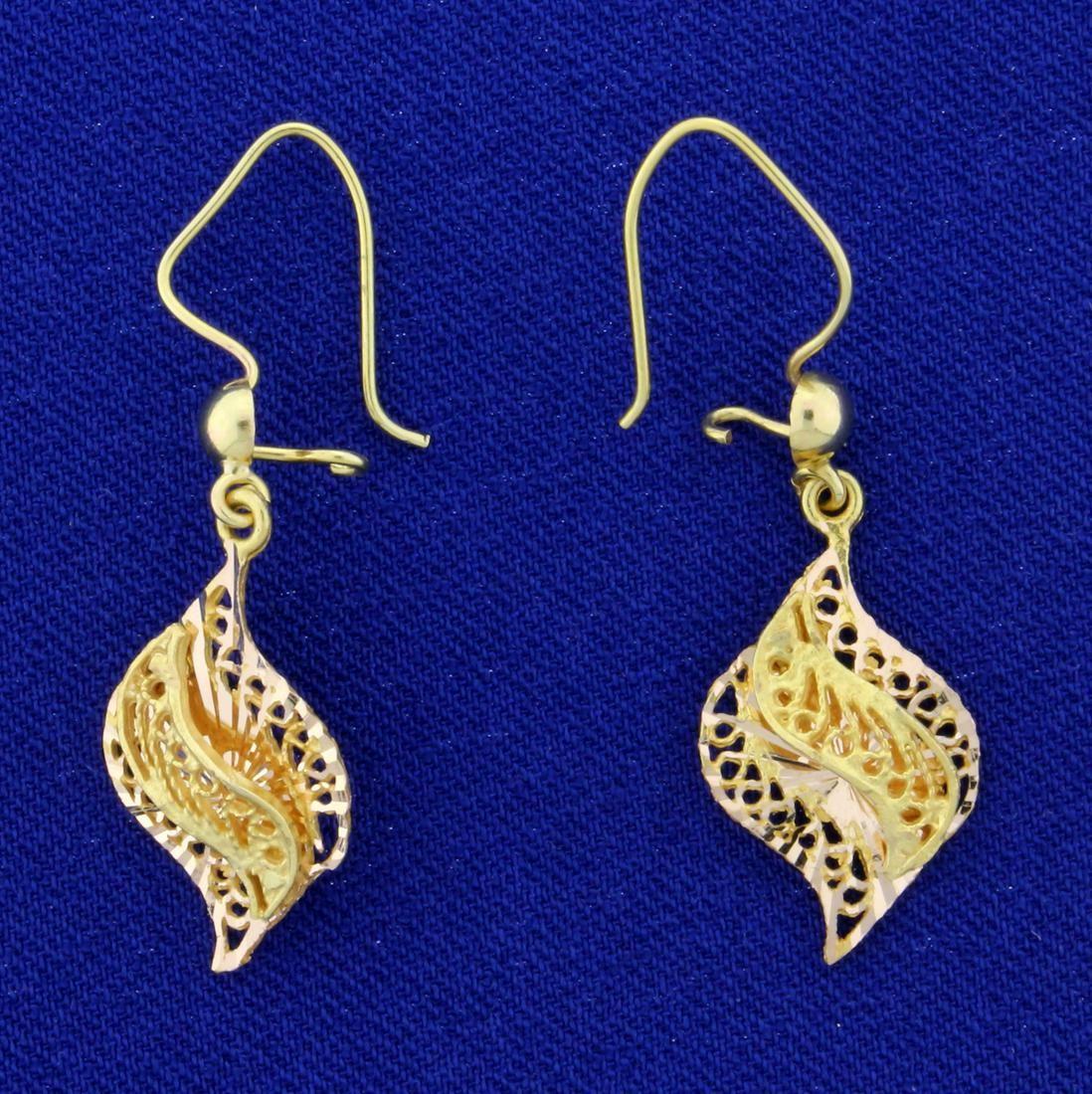 Diamond Cut Lace Design Dangle Earrings in 14K Yellow