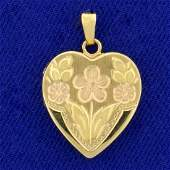 Floral Design Heart Locket Pendant in 14K Yellow and