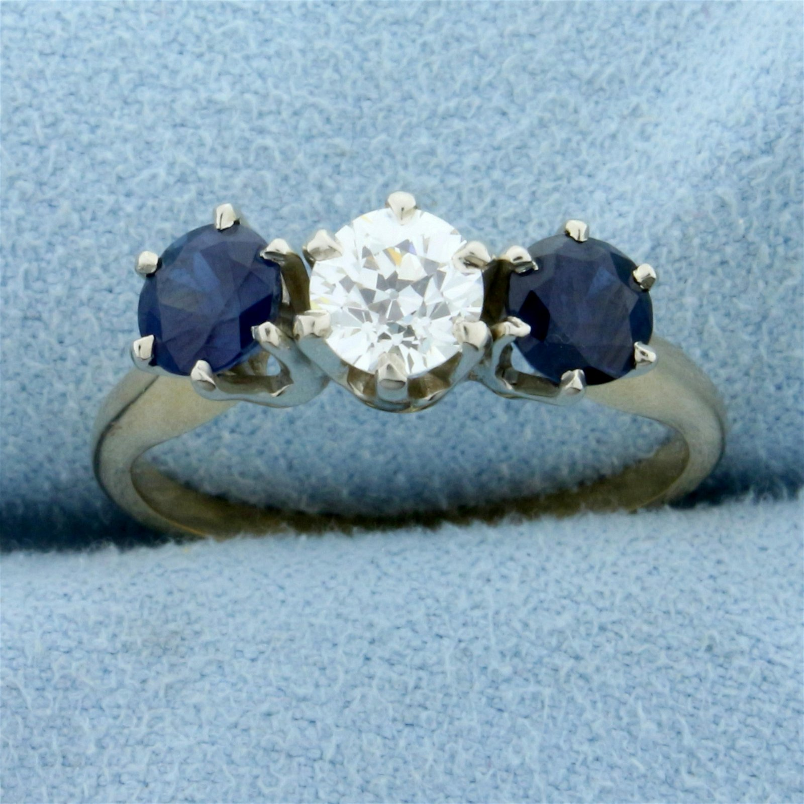 1.5ct TW Three Stone Sapphire and Diamond Ring in 14K