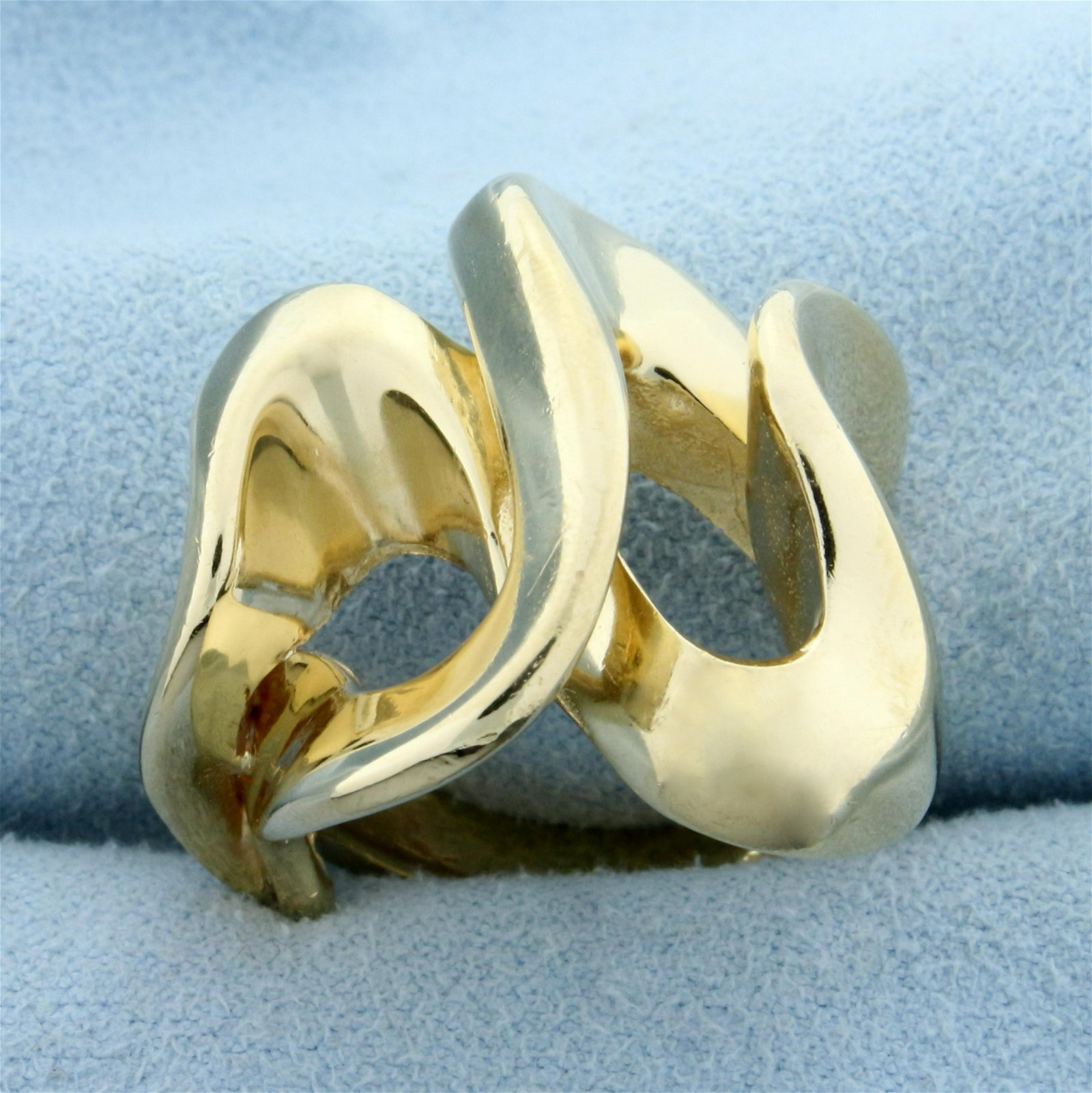 Modern Abstract Design Heavy Gold Ring in 14K Yellow