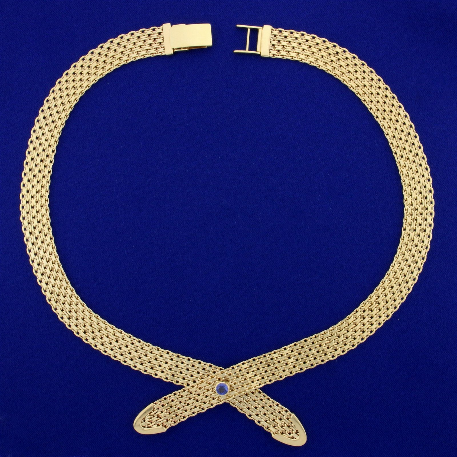Heavy Panther Link Tanzanite Necklace in 14K Yellow