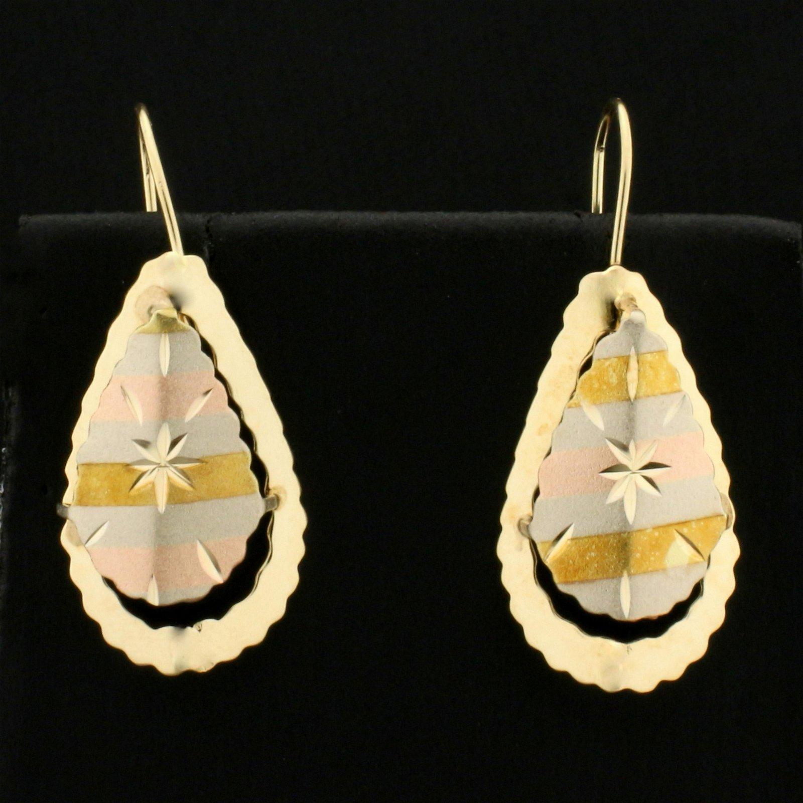 Diamond Cut Tri-Color Dangle Drop Earrings in 14K