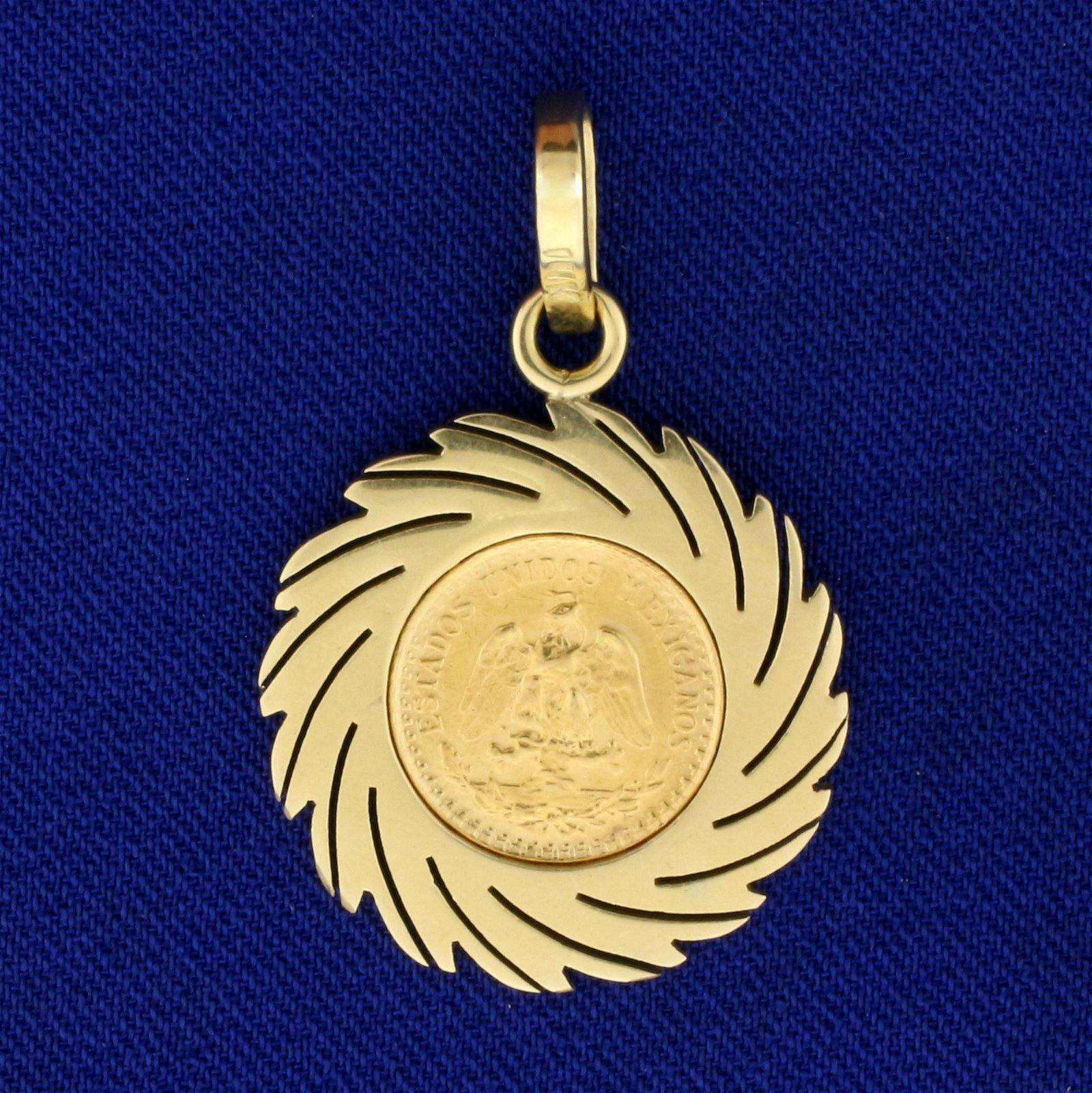 1945 Dos Pesos Mexican Coin Pendant in 14K Yellow Gold