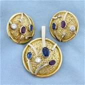 Vintage Diamond, Sapphire, and Ruby Pendant and Earring
