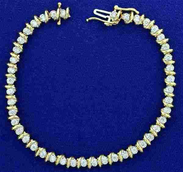 2.5ct TW Diamond Tennis Bracelet in 14K Yellow Gold
