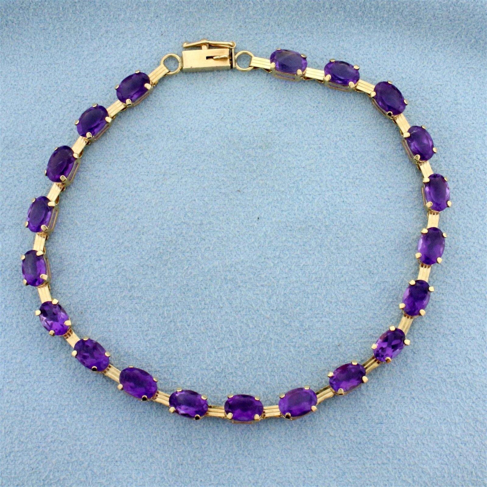 10ct TW Amethyst Line Bracelet in 10K Yellow Gold