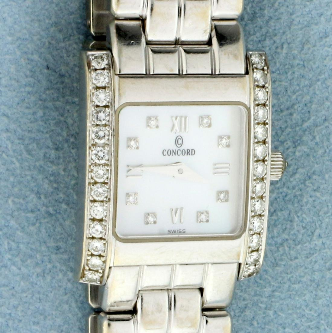 Ladies Concord Veneto Solid 14k White Gold Diamond