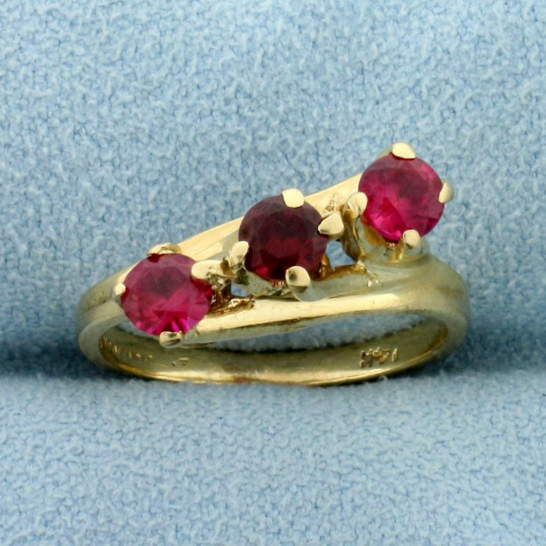 Three-Stone Ruby and Pink Sapphire Ring in 14K Yellow