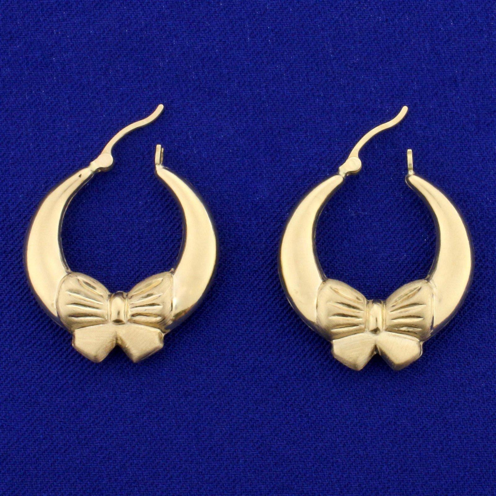 Bow Design Hoop Earrings in 14K Yellow Gold