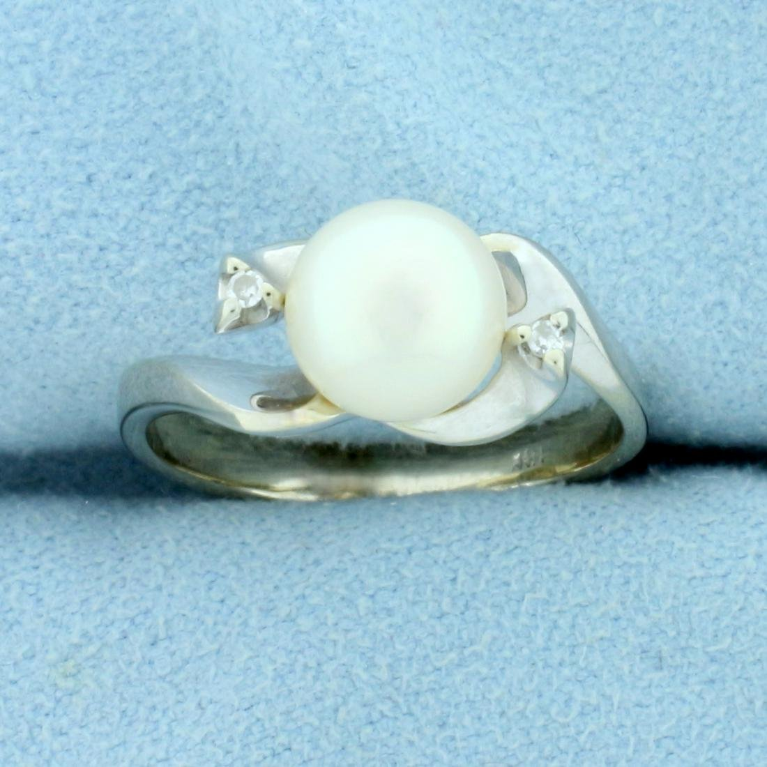 Akoya Pearl and Diamond Ring in 18K White Gold