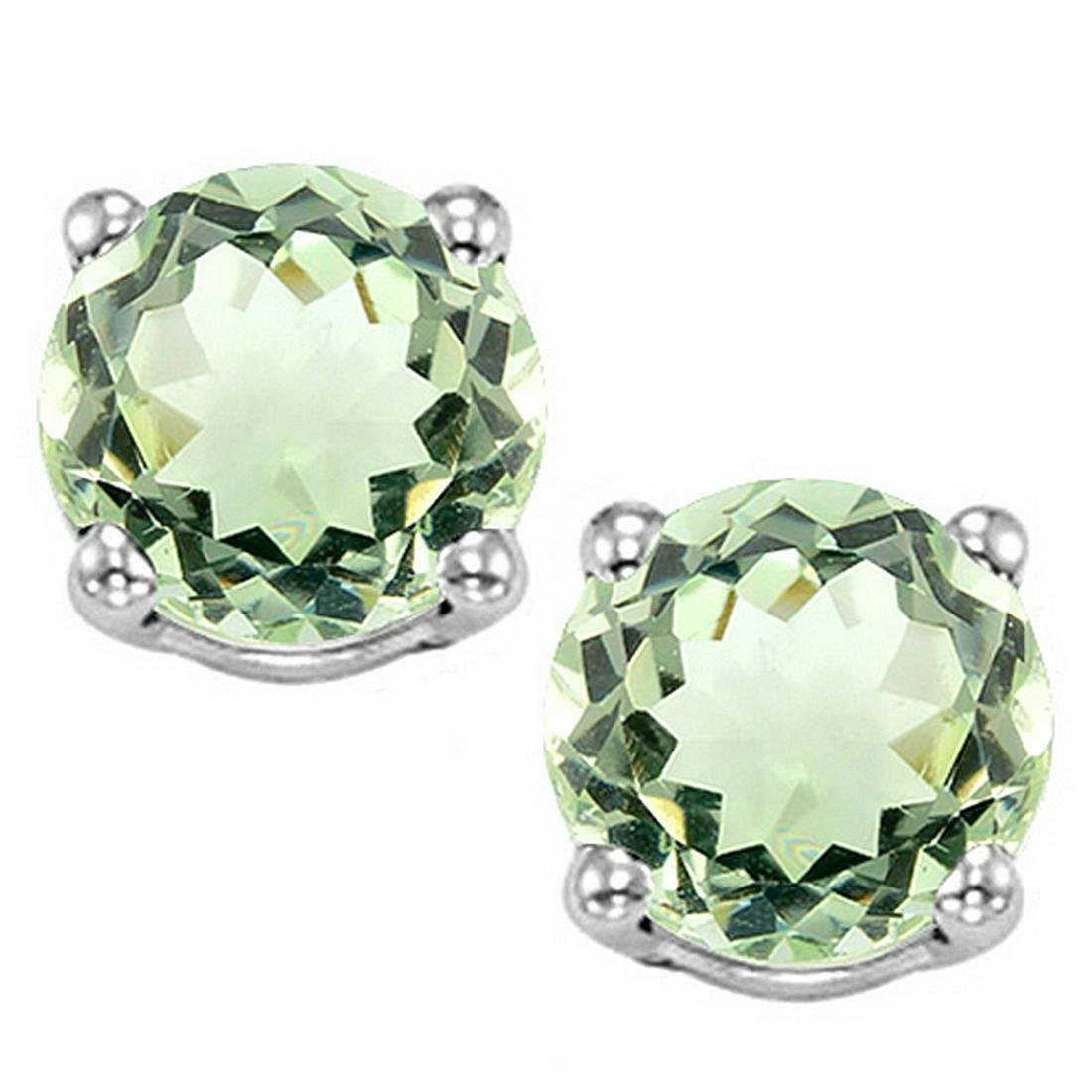8MM Large Green Amethyst Stud Earrings in Sterling