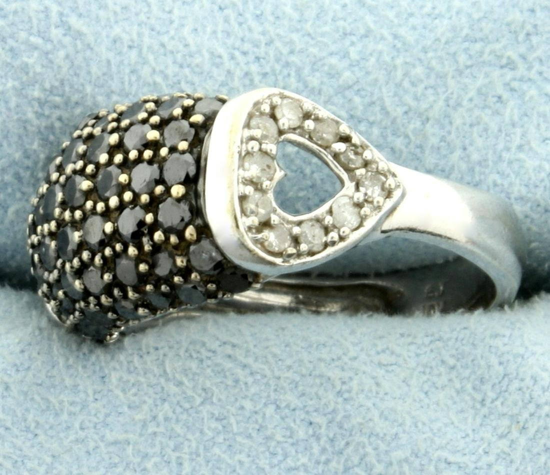 2ct TW Black and White Diamond Heart Ring in 10k White