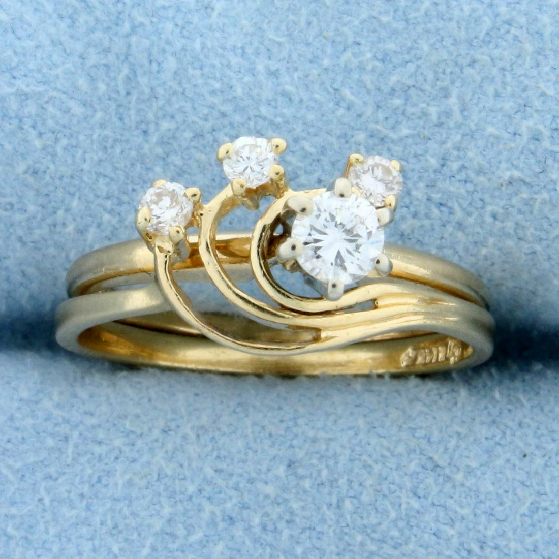 Unique Modern Design Diamond Ring in 14K Yellow Gold