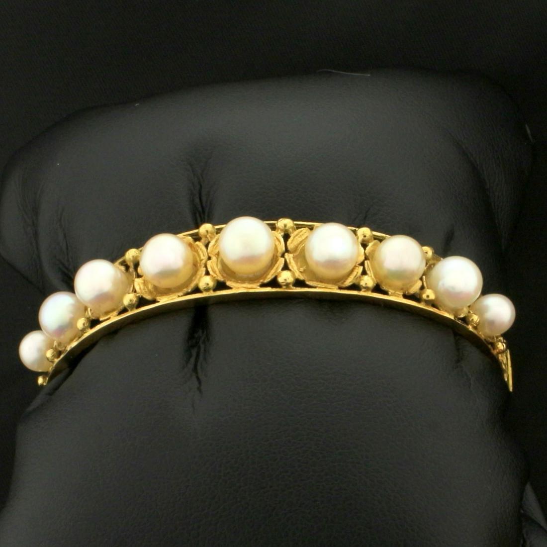 Vintage Akoya Pearl Bangle Bracelet in 18K Yellow Gold
