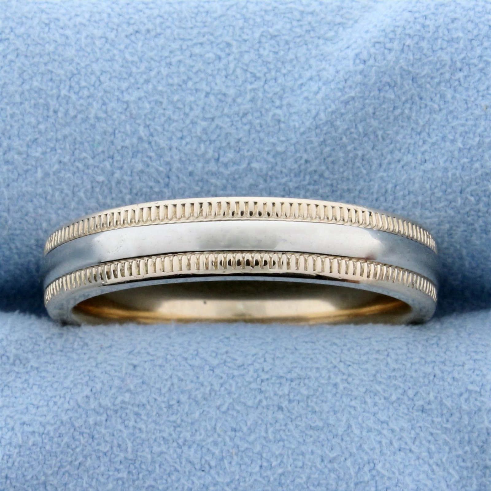 Men's Two Tone Wedding Band Ring With Beaded Edges in