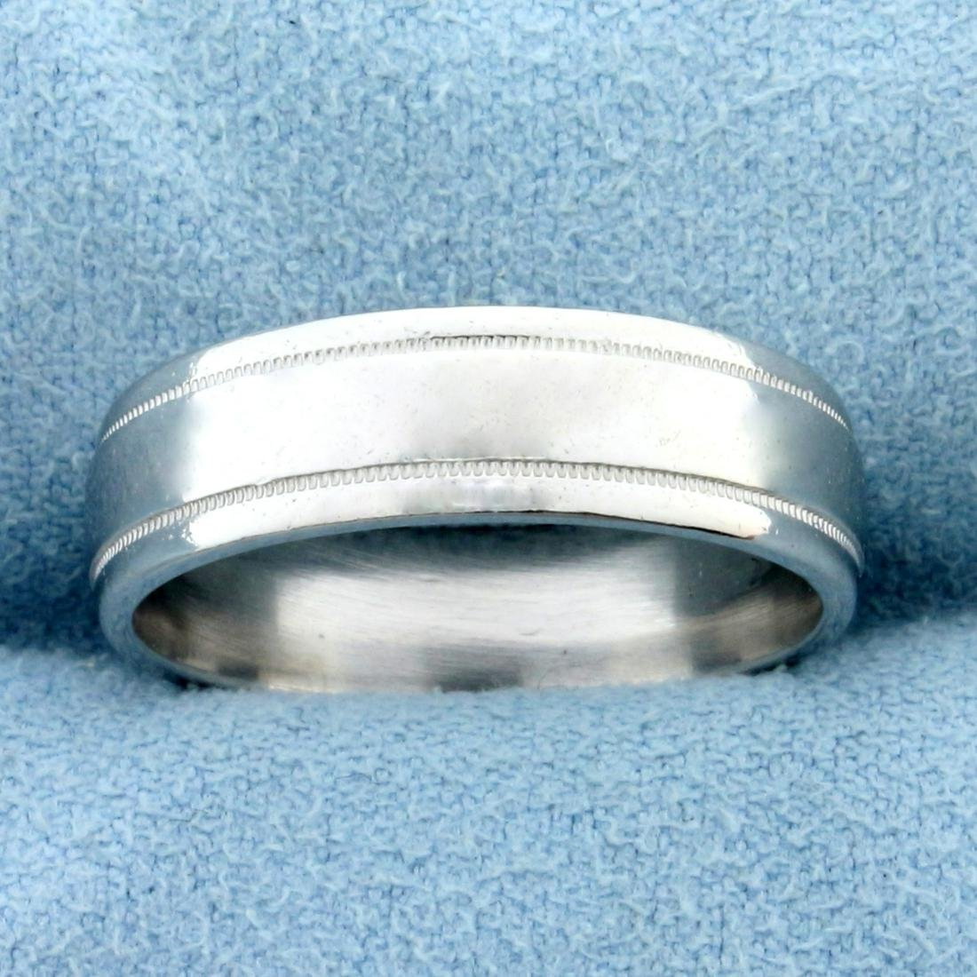 Wedding Band Ring With Beaded Edge in Platinum