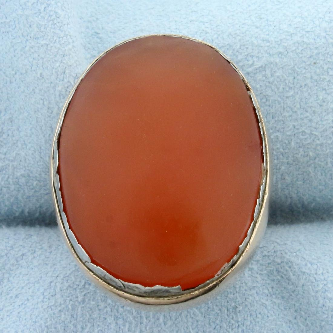 Unique Large Orange Agate Statement Ring in 14k Rose